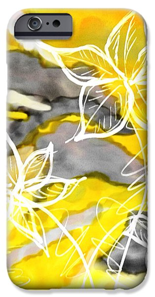 Yellow And Grey Abstract Art iPhone Cases - Sun In Spring iPhone Case by Lourry Legarde