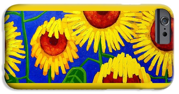 Sunflower Paintings iPhone Cases - Sun Lovers iPhone Case by John  Nolan