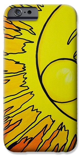 Sun Rays Paintings iPhone Cases - Sun on Blue iPhone Case by Joy Green