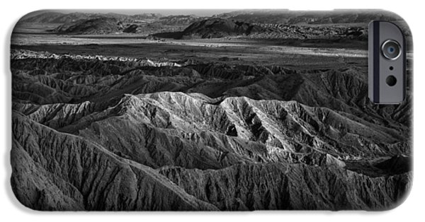 Monochrome iPhone Cases - Sun on the Borrego Badlands iPhone Case by Peter Tellone