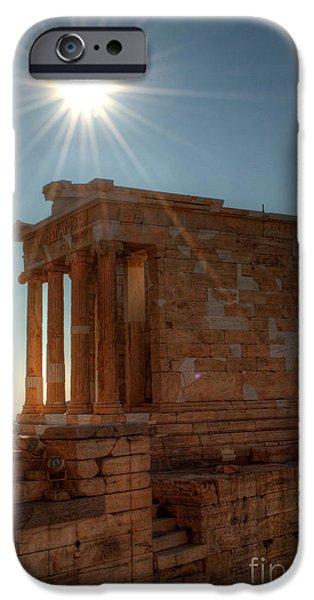 Sun Over Athena Nike Temple iPhone Case by Deborah Smolinske