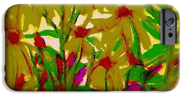 Floral Digital Art Digital Art Pastels iPhone Cases - Sun Reaching iPhone Case by Gina Seymour