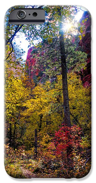 West Fork iPhone Cases - Sun rising over the Cliffs iPhone Case by Brian Lambert