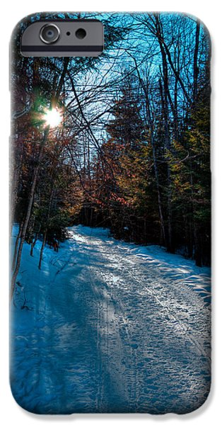 Snow Scene iPhone Cases - Sun Setting on the Lock and Dam Trail iPhone Case by David Patterson