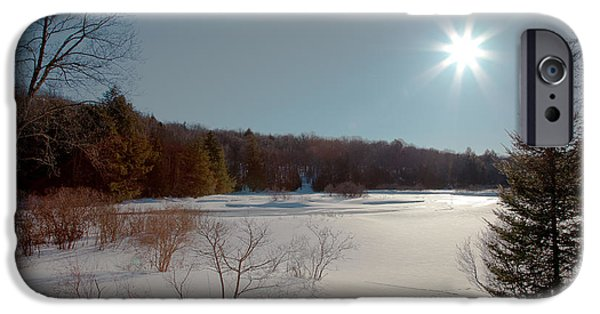 Snow Scene iPhone Cases - Sun Setting on the Moose River - Old Forge New York iPhone Case by David Patterson