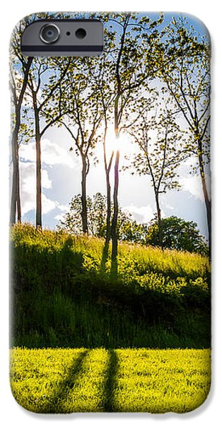 Sun shining through trees and shadows on the grass at Antietam National Battlefield Maryland iPhone Case by Jon Bilous