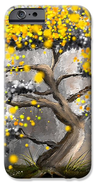 Yellow And Grey Abstract Art iPhone Cases - Sun Showers - Yellow And Gray Art iPhone Case by Lourry Legarde