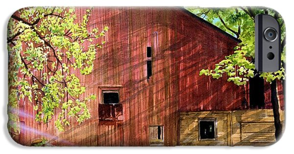Old Barn iPhone Cases - Sun Stroked iPhone Case by Barbara Jewell