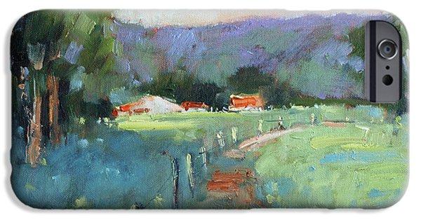 Farm Fields Paintings iPhone Cases - Sun Struck Farm iPhone Case by Joyce Hicks