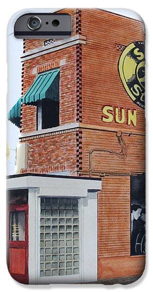 Elvis Presley Paintings iPhone Cases - Sun Studio iPhone Case by Ferrel Cordle