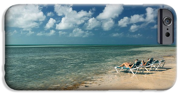 Private Island iPhone Cases - Sunbathers on the Beach iPhone Case by Amy Cicconi