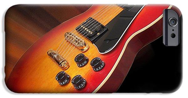Legendary Music Singers iPhone Cases - Sunburst Guitar iPhone Case by Gill Billington