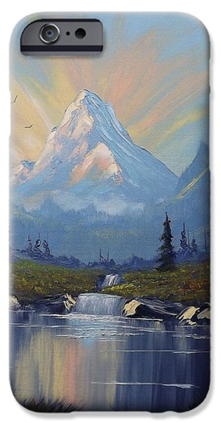 Pallet Knife iPhone Cases - Sunburst Landscape iPhone Case by Richard Faulkner
