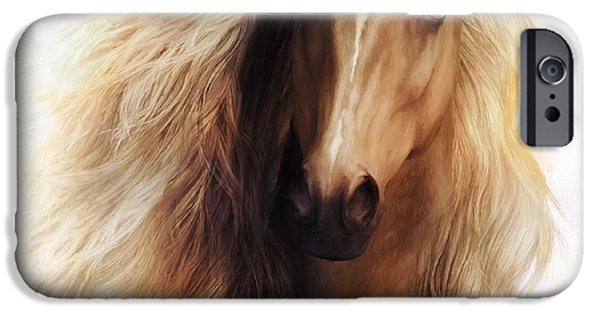 Freedom iPhone Cases - Sundance Horse Portrait iPhone Case by Shanina Conway