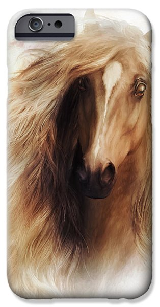 Horses Digital Art iPhone Cases - Sundance Horse Portrait iPhone Case by Shanina Conway