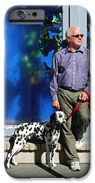 Dog Walking Digital iPhone Cases - Sunday Afternoon on King Street iPhone Case by Suzanne Gaff