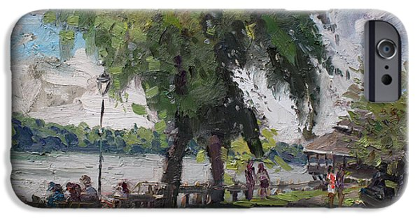 People iPhone Cases - Sunday at Lewiston Waterfront Park iPhone Case by Ylli Haruni