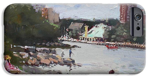 Fishing Boat iPhone Cases - Sunday at Port Credit Park Mississauga iPhone Case by Ylli Haruni