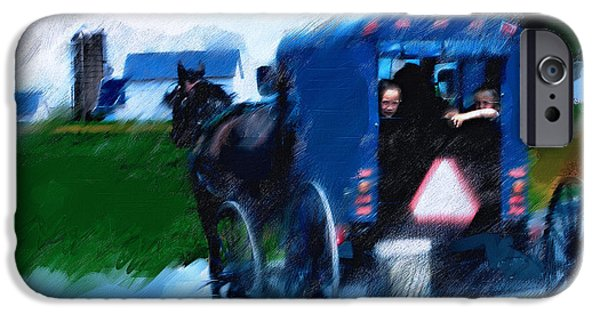 Horse And Buggy Digital iPhone Cases - Sunday Buggy Ride iPhone Case by Ted Azriel