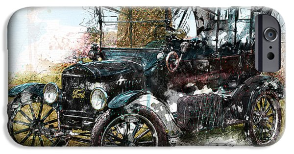 Ford Model T Car iPhone Cases - Sunday Driver iPhone Case by Gary Bodnar