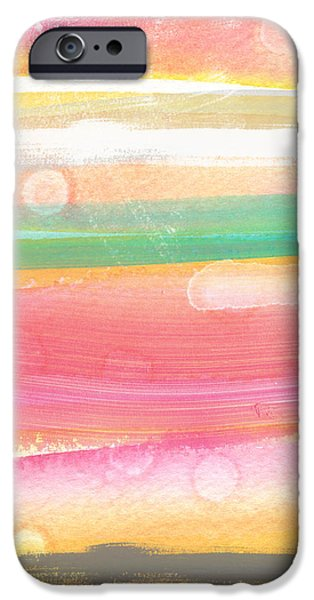 Stripes Mixed Media iPhone Cases - Sunday In The Park- contemporary abstract painting iPhone Case by Linda Woods