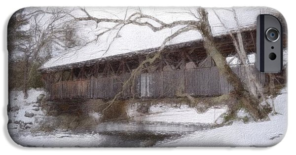 Winter In Maine iPhone Cases - Sunday River Covered  Bridge iPhone Case by Shellaine Rollins