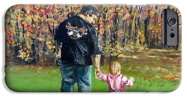Jack Skinner Paintings iPhone Cases - Sunday Walk with Dad iPhone Case by Jack Skinner
