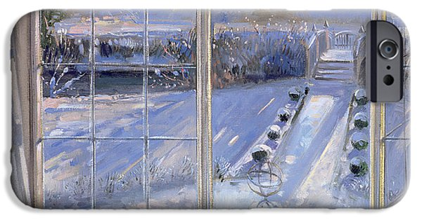Ledge iPhone Cases - Sundial And Cat Oil On Canvas iPhone Case by Timothy Easton