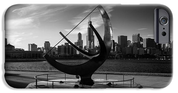 Willis Tower iPhone Cases - Sundial and Chicago IL B W iPhone Case by Steve Gadomski