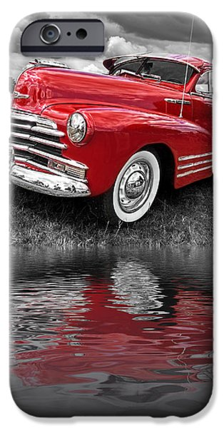 Water In Caves iPhone Cases - Sundown By The Lake - 1948 Red Chevy iPhone Case by Gill Billington