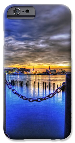 Constitution iPhone Cases - Sundown on Boston Harbor iPhone Case by Joann Vitali