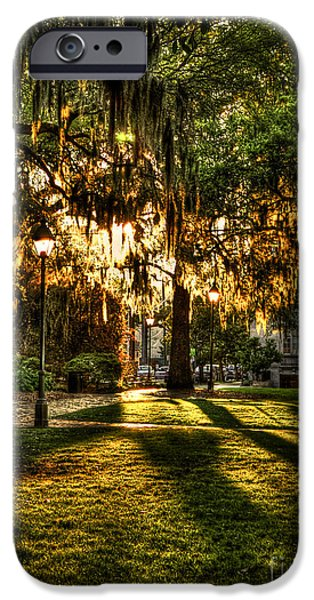 Chatham iPhone Cases - Sundown on Johnson Square in Savannah iPhone Case by Reid Callaway