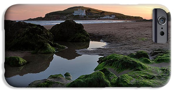 Incoming Tide iPhone Cases - Sundown on the Beach  at Bigbury on Sea in Devon iPhone Case by Louise Heusinkveld