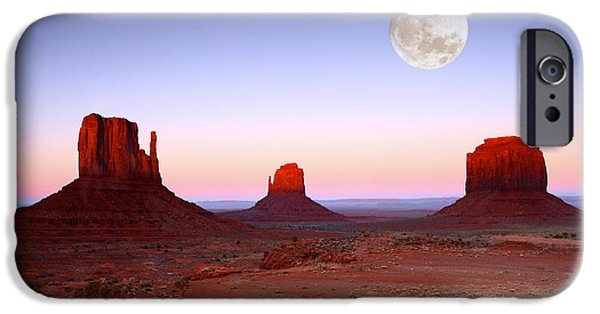 Surrealism Pyrography iPhone Cases - Sundown on the Buttes in Monument Valley Arizona iPhone Case by Katrina Brown