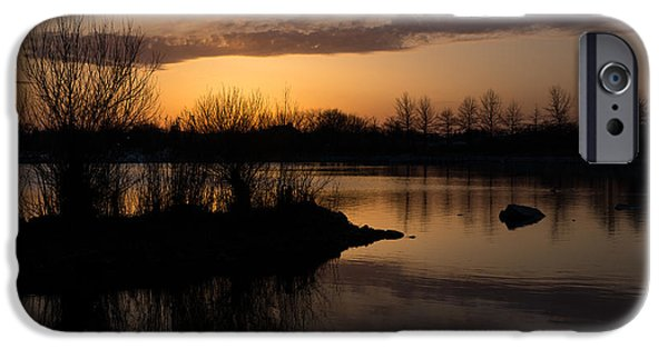Willow Lake iPhone Cases - Sundown with Bare Branches iPhone Case by Georgia Mizuleva