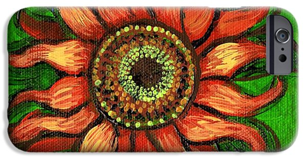 Girasol iPhone Cases - Sunflower 1 iPhone Case by Genevieve Esson