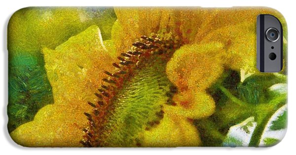 Colorful Abstract iPhone Cases - Sunflower 19 iPhone Case by Victor Gladkiy