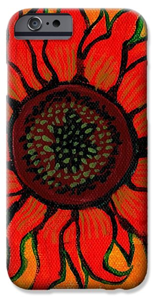 Girasol iPhone Cases - Sunflower 2 iPhone Case by Genevieve Esson