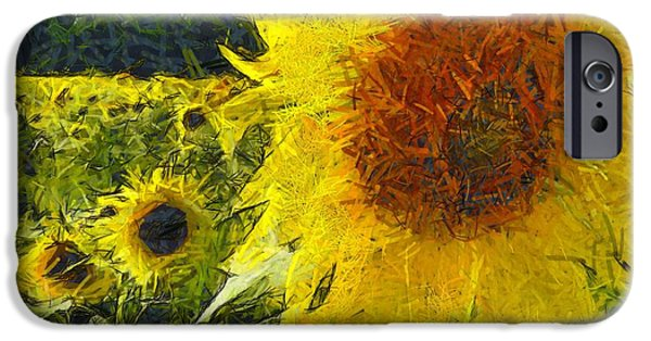 Colorful Abstract iPhone Cases - Sunflower 26 iPhone Case by Victor Gladkiy
