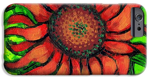 Girasol iPhone Cases - Sunflower 3 iPhone Case by Genevieve Esson