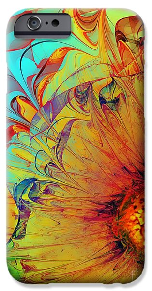 Recently Sold -  - Abstract Digital iPhone Cases - Sunflower Abstract iPhone Case by Klara Acel