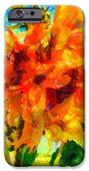 Girasol iPhone Cases - Sunflower Afternoon Impressions iPhone Case by Janine Riley