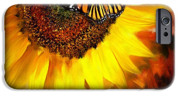 Sunflowers iPhone Cases - Sunflower And Butterfly Painting iPhone Case by Lourry Legarde