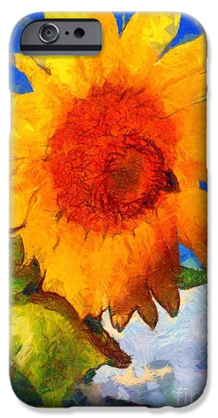 Girasol iPhone Cases - Sunflower - Bee happy iPhone Case by Janine Riley