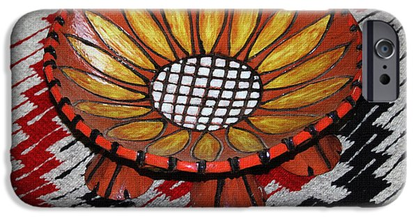 Floral Ceramics iPhone Cases - Sunflower Bowl On Rug iPhone Case by Tom Janca