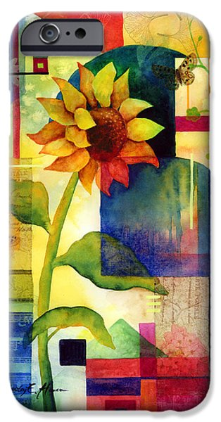 Abstract Sunflower iPhone Cases - Sunflower Collage iPhone Case by Hailey E Herrera