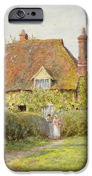Rural iPhone Cases - Sunflower Cottage iPhone Case by Helen Allingham