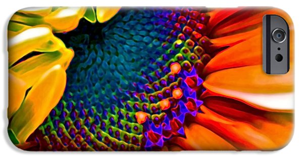 Colorful Sunflower iPhone Cases - Sunflower Crazed iPhone Case by Gwyn Newcombe