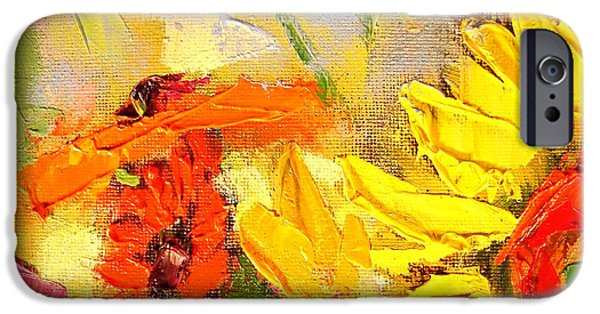 Abstract Expressionism iPhone Cases - Sunflower Detail iPhone Case by Ana Maria Edulescu
