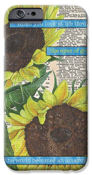 Gratitude iPhone Cases - Sunflower Dictionary 2 iPhone Case by Debbie DeWitt